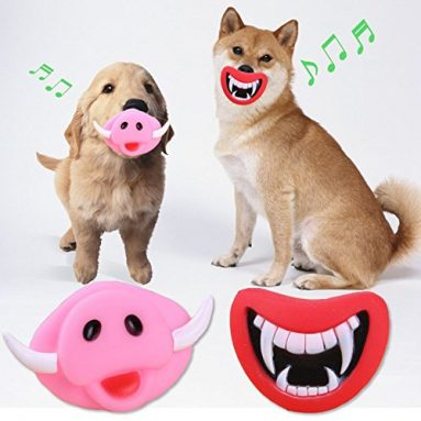 Oinky & Fangy Dog Squeaky Toys Funny Face Toys